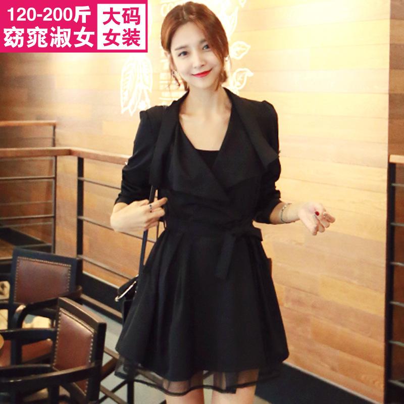 加肥加大女装200斤胖妹妹秋装新款韩版女装特大码连衣裙384