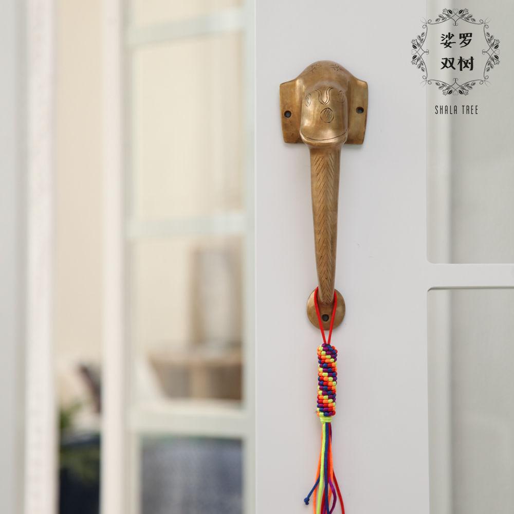 Вилла может место индия ручной работы все медь поверхностный монтаж ручка двери китайский стиль медь комнатный от слон ручка двери