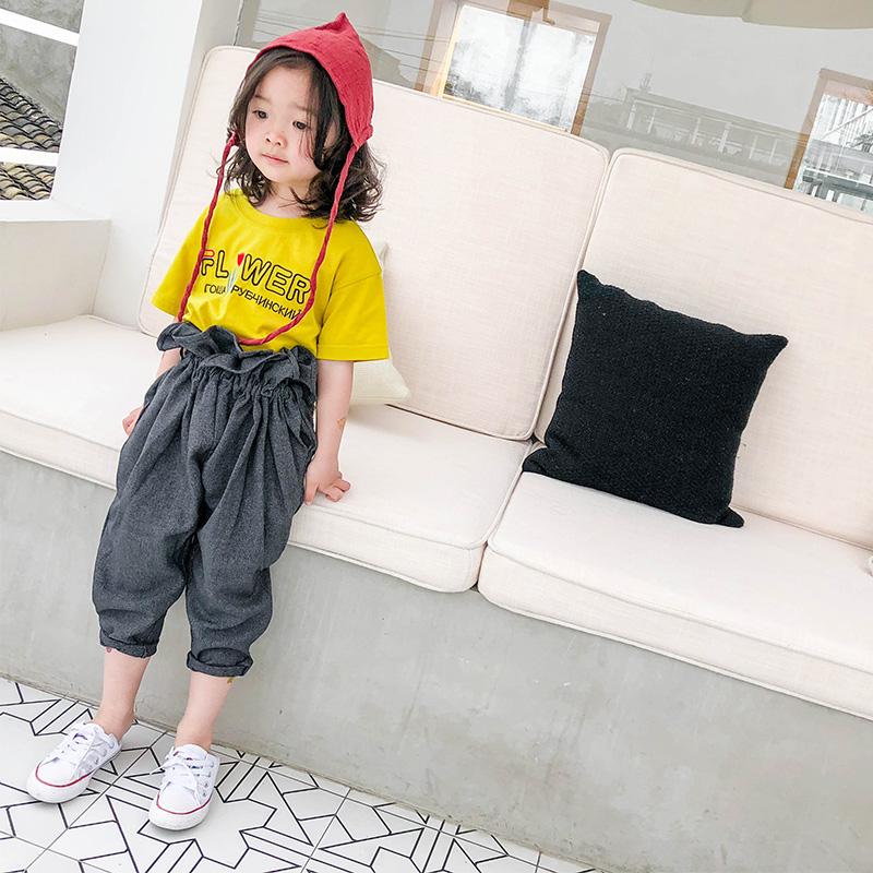 梨小闲男女童夏短袖T恤棉印花上衣E82T1291