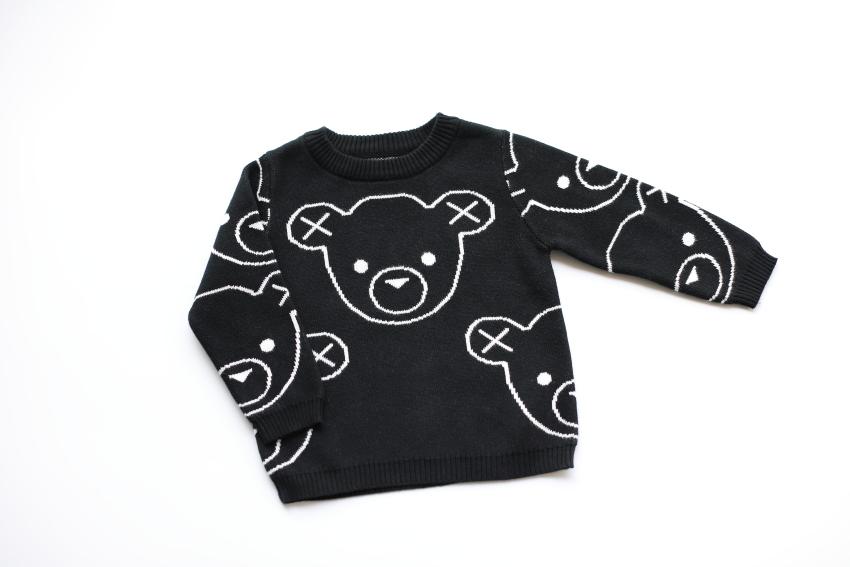 Новая весна модель дуплекс ткать очаровательный медвежонок глава хлопок наборы глава свитер свитер 90-140 код