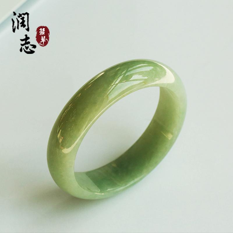 润志翡翠冰糯种飘花翡翠手镯 缅甸A货老坑满绿57.5玉镯zb7052