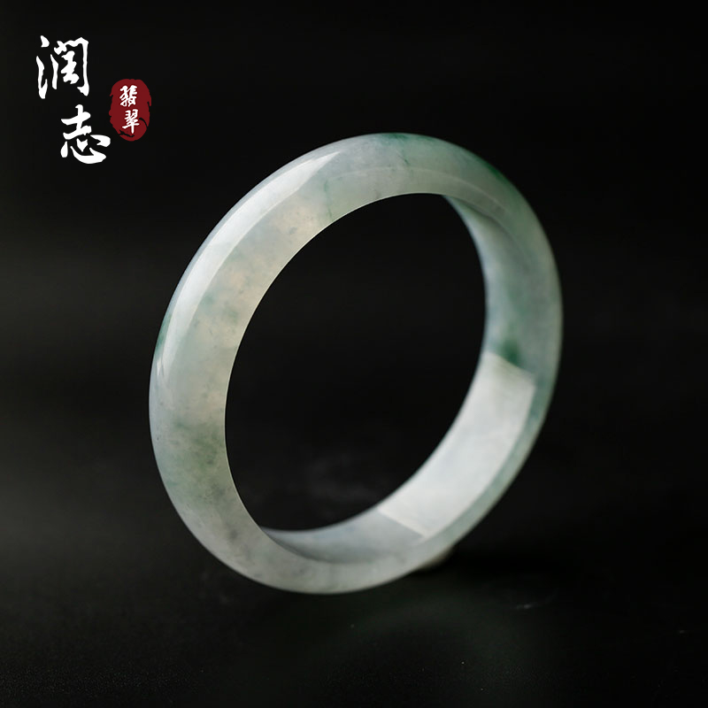 Rzjade / Runzhi jade new product Laokeng ice floating flower jade bracelet children 57 Myanmar jade bracelet b7964
