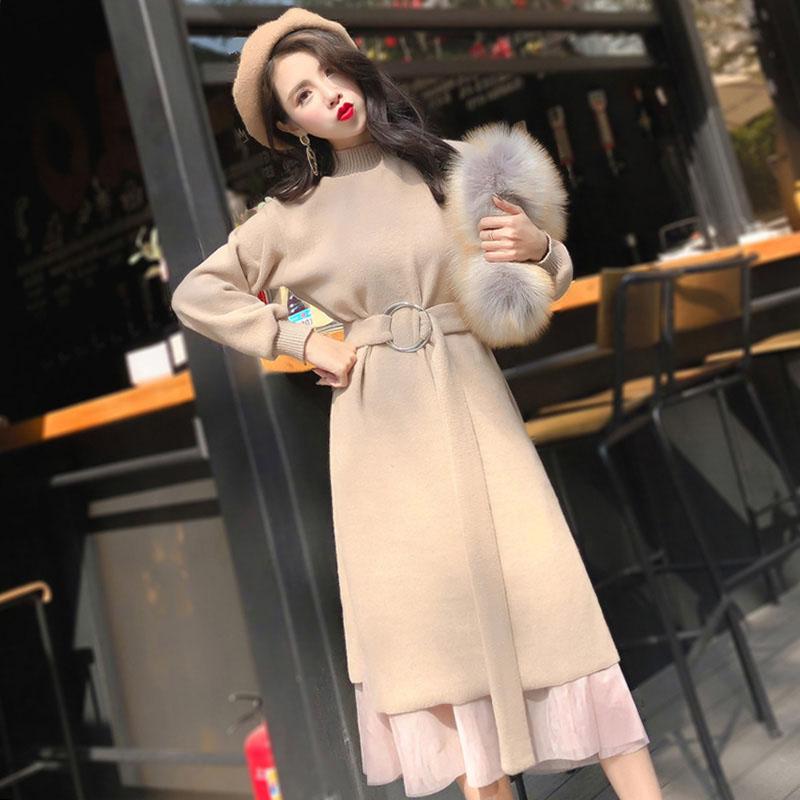 哺乳连衣裙产后外出时尚秋装针织喂奶衣冬季保暖母乳期辣妈款套装