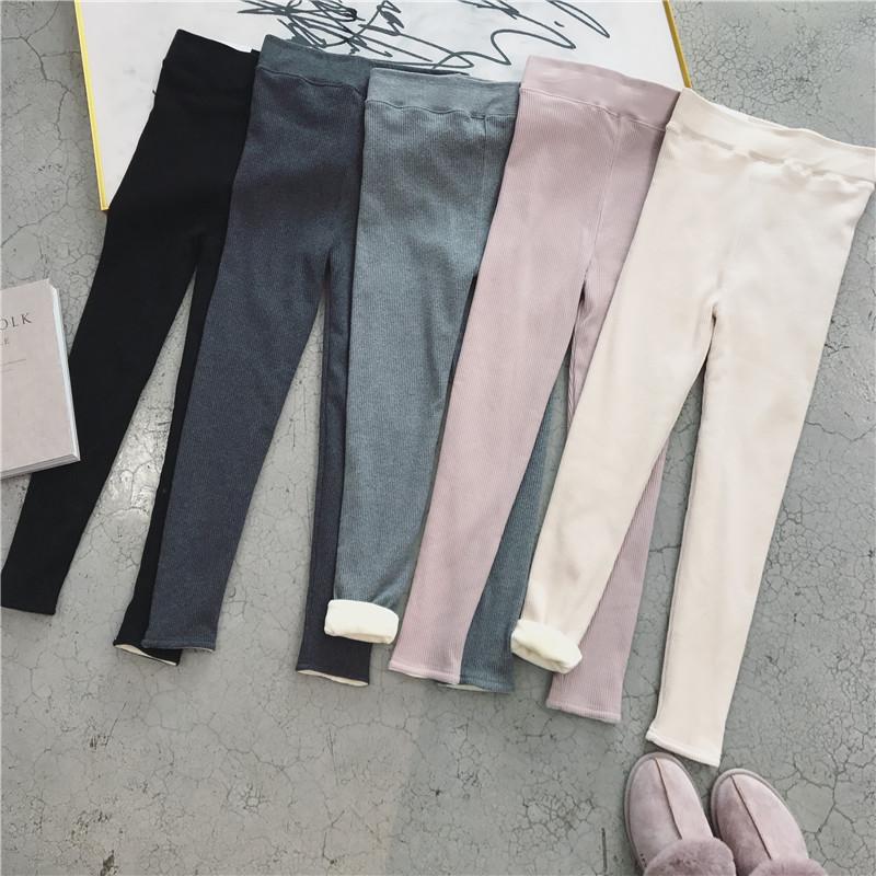 bi入人手一条 超推荐冬新款加厚绒竖纹理螺纹弹力大码显瘦打底裤