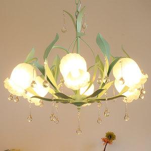 欧式公主女孩粉色儿童房ins吊灯创意温馨韩式田园美容院卧室灯具