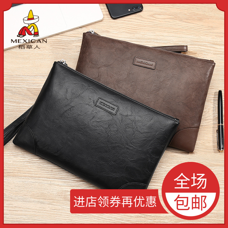 Scarecrow hand bag man business trend leisure envelope bag mobile phone bag large capacity personalized fashion zipper Purse