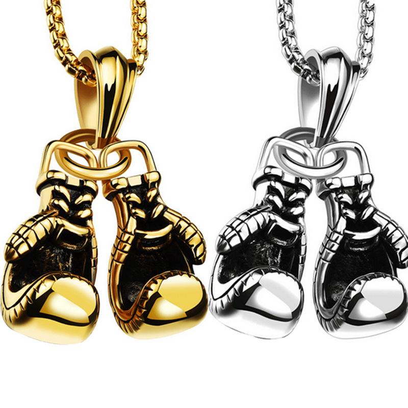 Boxing gloves metal necklace pendant sports fitness wear fashion punk pendant accessories boxer champion