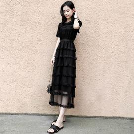 蛋糕长裙2019夏装新款短袖蕾丝裙超仙的法国黑色气质圆领连衣裙女