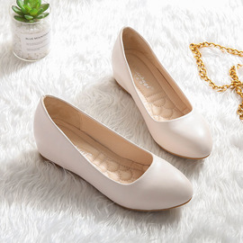 护士鞋子女2020新款工作坡跟豆豆鞋浅口小码女鞋31 32 33平底单鞋
