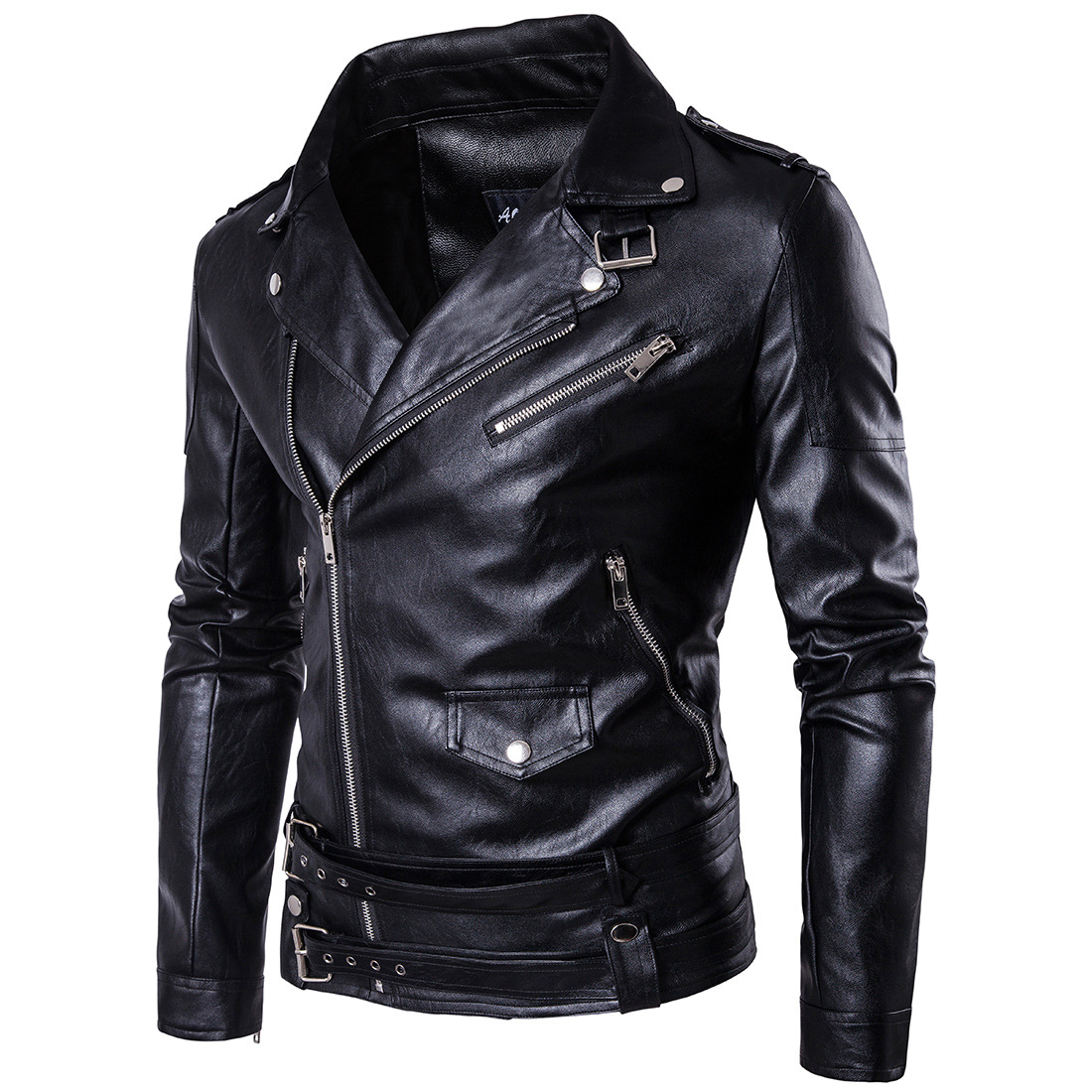 European and American style plus large mens locomotive short Polo leather jacket British Style Mens punk inclined zipper leather jacket