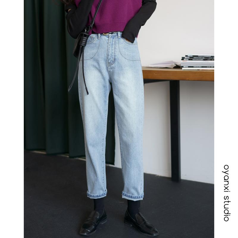 高腰浅蓝直筒裤女韩版宽松牛仔裤