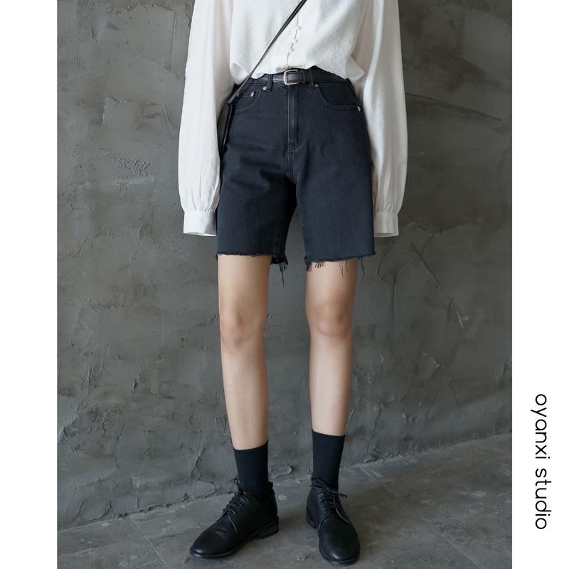 高腰牛仔短裤女五分裤2019新款修身毛边牛仔裤直筒中裤显瘦黑色裤