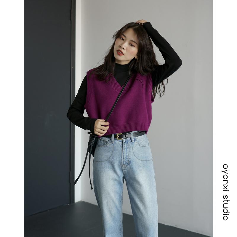 2019新款復古V領針織馬甲女短款寬松外穿套頭背心韓版無袖上衣女
