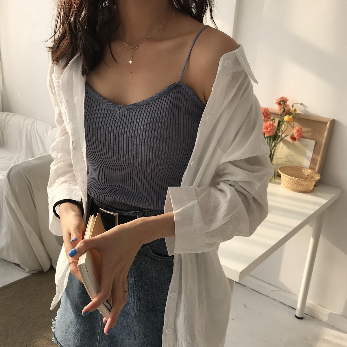 ulzzang背心女打底吊帶外穿內搭韓版學生短款針織修身馬甲上衣