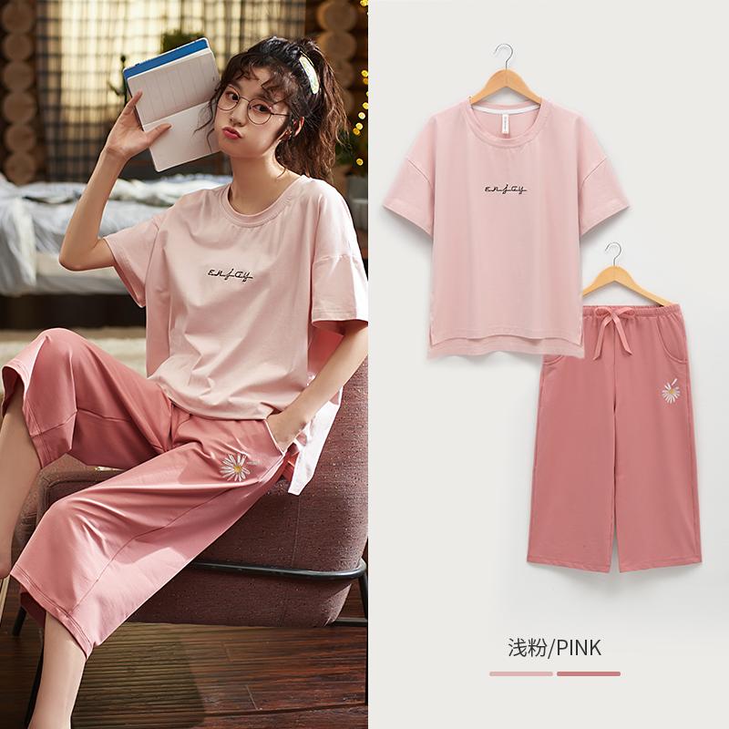 Home season pajamas womens summer short sleeve thin modal cotton new Capris two piece suit