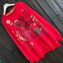 欧美大码女装彩色涂鸭字母圆领T恤春秋运动休闲潮范纯棉长袖卫衣