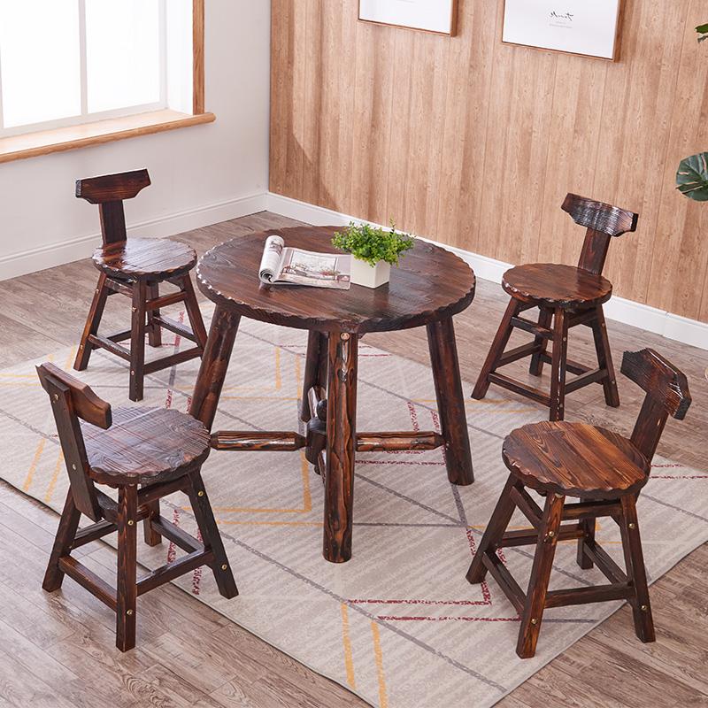 户外防腐木休闲阳台桌椅室外庭院露天户外桌椅星巴克户外桌椅组合