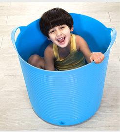 儿童可坐浴桶儿童塑料洗澡桶宝宝软胶沐浴桶泡澡桶澡盆加高特大号