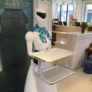 穿山甲餐饮酒店迎宾卡通智能传菜四代送餐机器人双托盘女神16新款