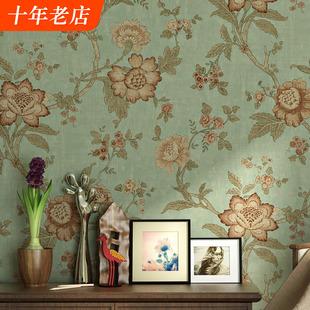 美式 卧室客厅床头无纺布电视背景墙壁纸 乡村田园墙纸复古怀旧风格