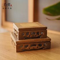 高档鸡翅木实木雕刻托架摆件底座香炉佛像石头小盆景红木家居圆形
