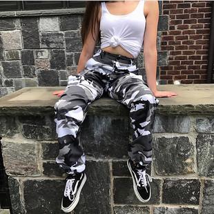 gagaopt百搭撞色嘻哈工裝迷彩褲女寬鬆顯瘦hiphop街舞帥氣長褲潮