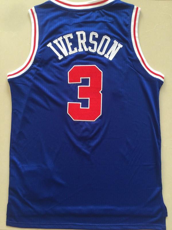 76人3号蓝色艾弗森球员版全针织刺绣篮球衣运动夏季街头复古背心