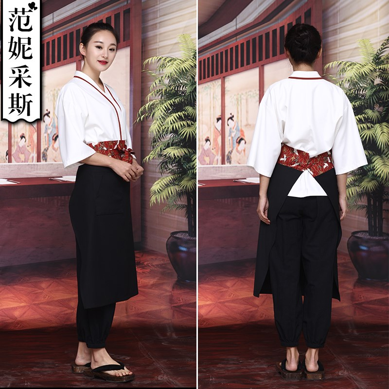 Fannies Japanese material shop work wear 2019 new mens and womens Restaurant sushi restaurant waiter set white