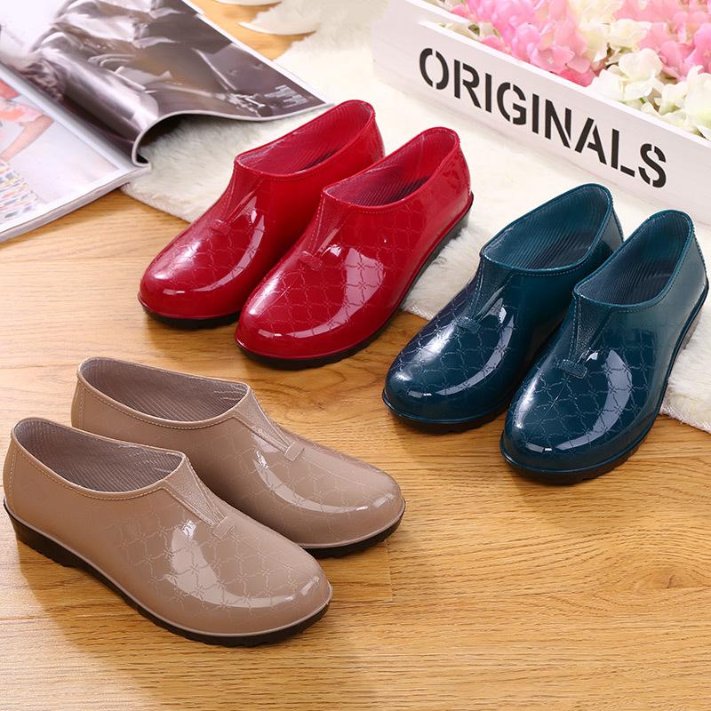 雨鞋雨靴防水鞋浅口胶鞋厨房工作套鞋女成人低帮短筒平底防滑夏季