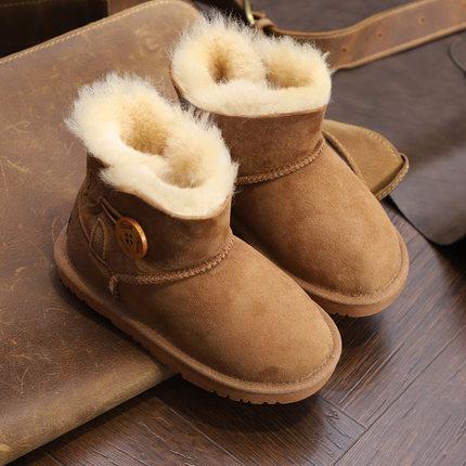 新款澳洲正品羊皮毛一体男女儿童雪地靴宝宝真皮雪地棉鞋亲子靴