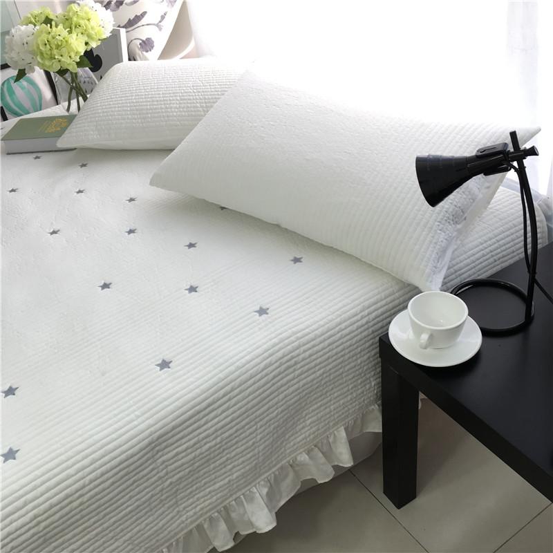 出口韩国纯棉全棉床盖三件套荷叶边绗缝夏被夹棉床裙床单简约星星