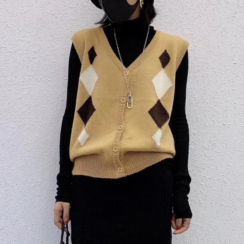 新款针织马甲女秋冬宽松无袖坎肩羊绒衫韩版毛衣背心外穿毛线马夹