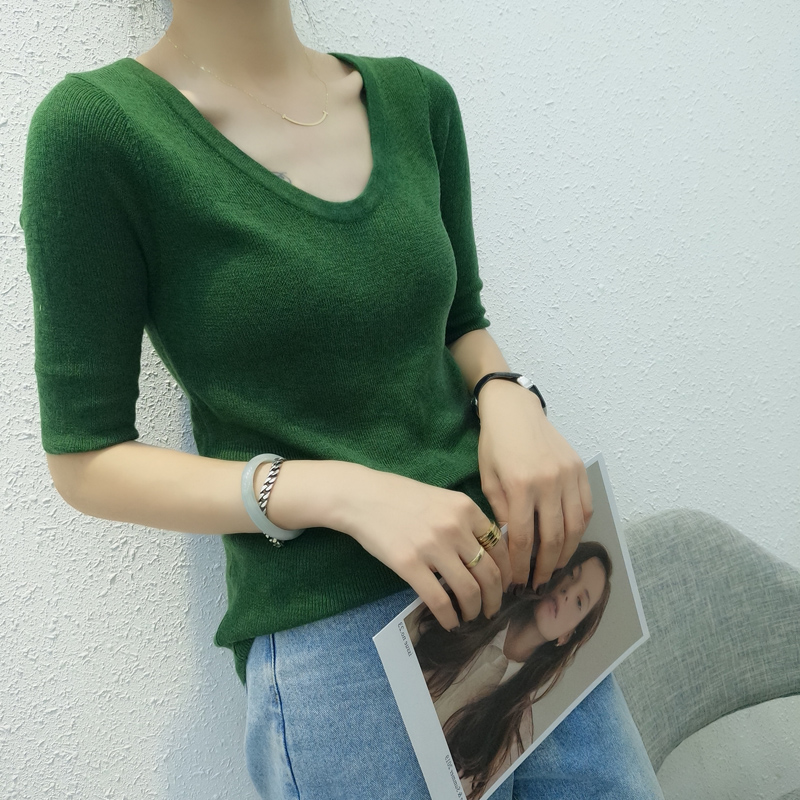 Large U-neck seven point sleeve cashmere sweater short womens autumn and winter solid wool sweater bottomed top slim sweater thin style