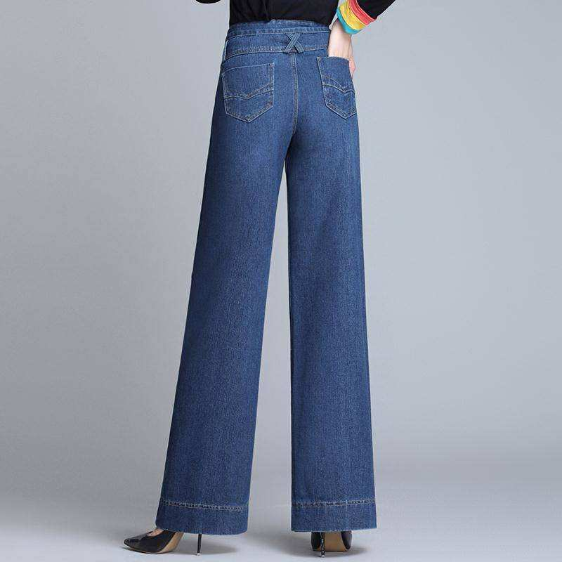 Wide leg jeans womens autumn and winter clothes 2020 new plush ANKLE PANTS large loose wide leg high waist straight pants