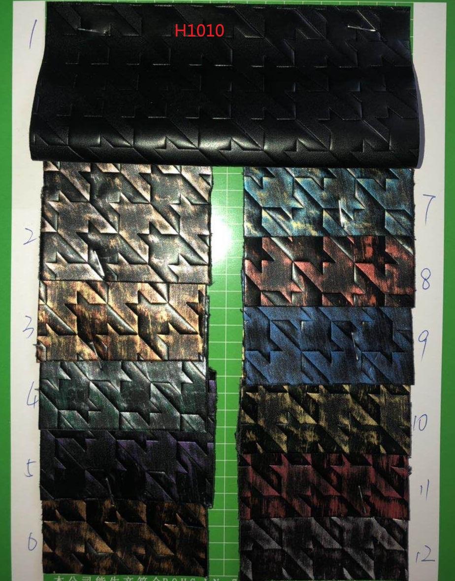 新款复古PU皮革擦色千鸟格毛底鞋材箱包装饰演出服装沙发面料DIY