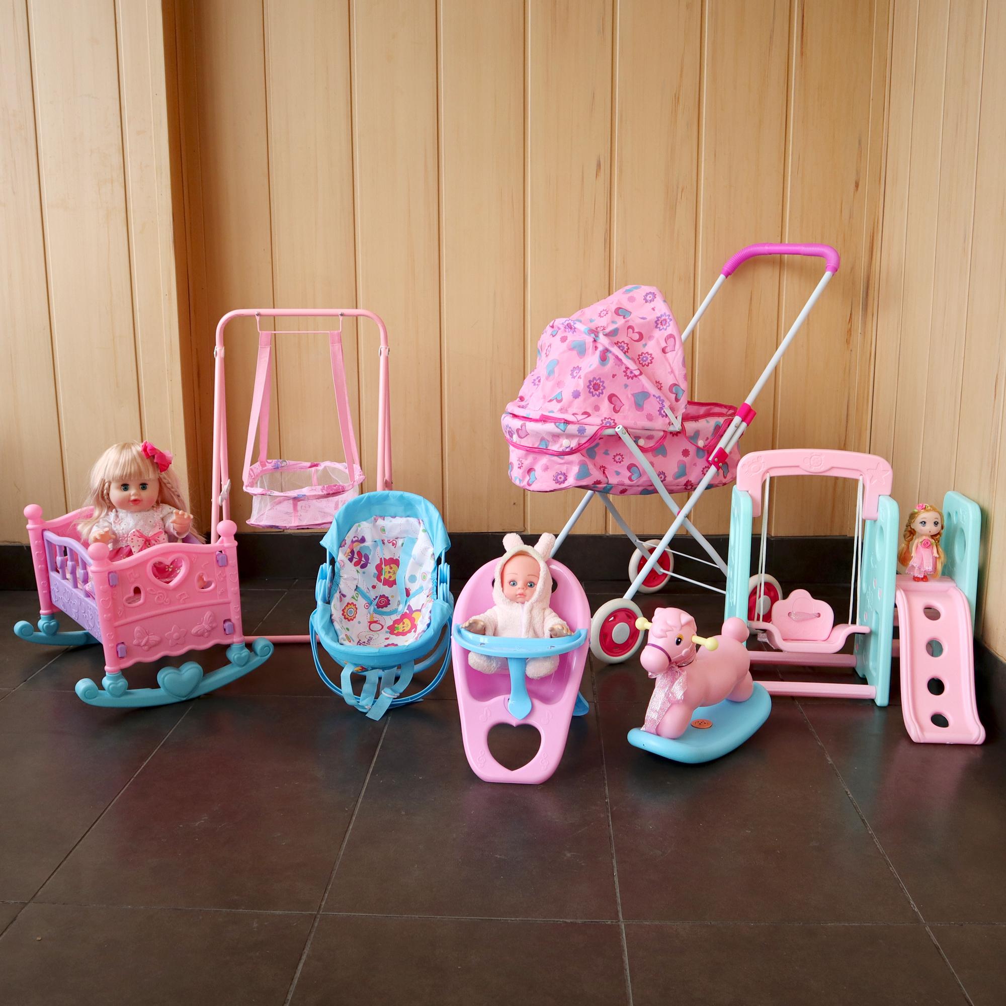 加大号儿童舞蹈玩具手推车带娃娃宝宝小推车女孩仿真过家家摇篮床