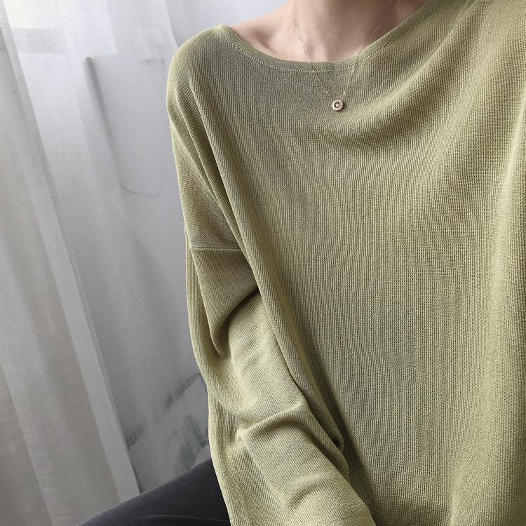 气质宽松冰丝长袖2021春秋季针织衫