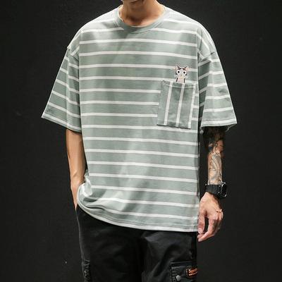 黑墙模特夏季男士日系条纹短袖T恤大码原创 款号T281 P30【控48】