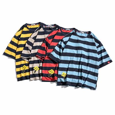 白底风潮日系条纹短袖T恤夏季大码休闲男 款号T9104 P30【控48】