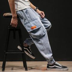 2019夏季马切达日系大码男原创工装大口袋九分束脚牛仔裤K003-P65
