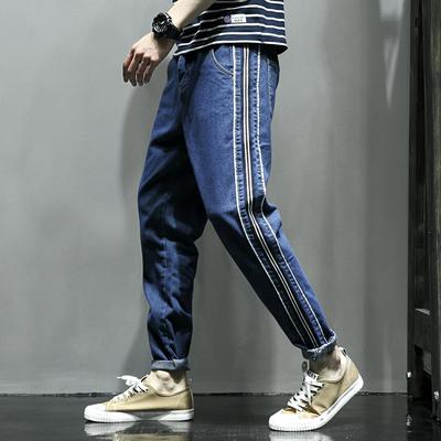 K091 春季新款男日系彩色布条竖条纹牛仔裤加大码【不低于69】P55