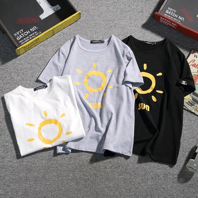 T8201夏季新大码日系卡通小太阳印花棉短袖T恤潮男特P28【控39】