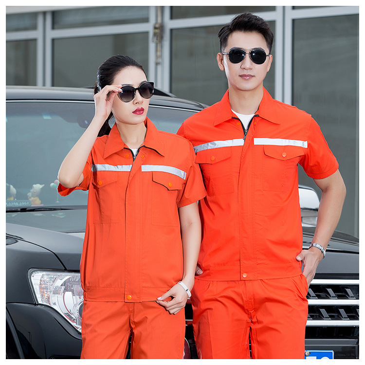 Summer hotel property uniform electrician mens and womens customized process department work clothes suit labor protection short sleeve days