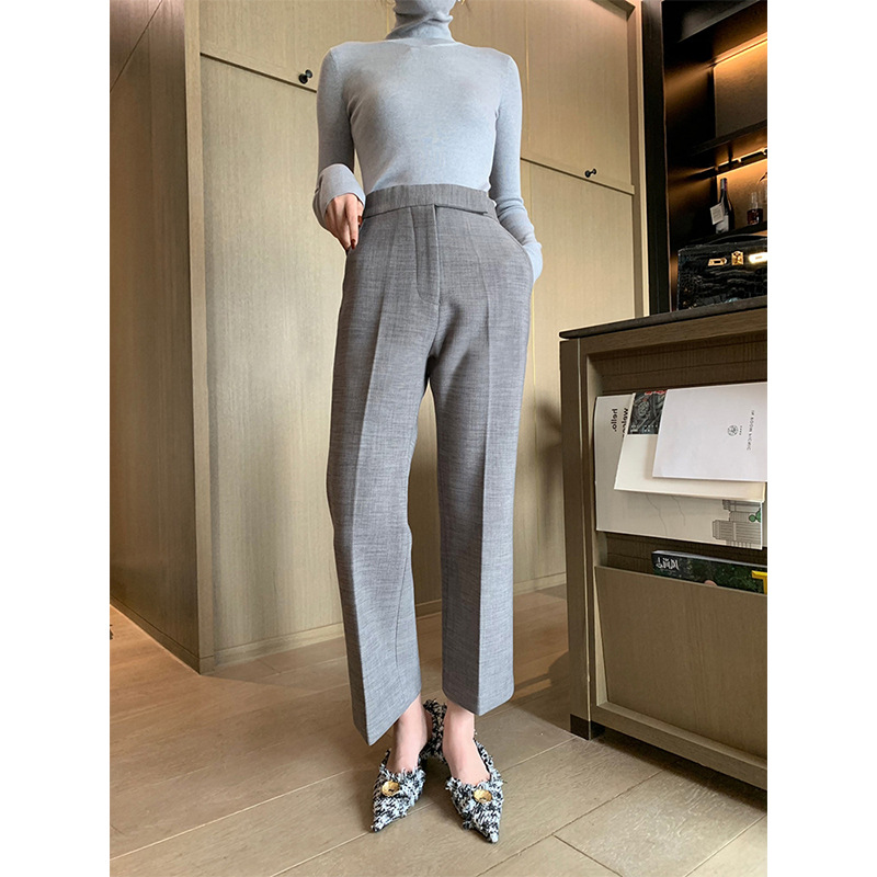 Thickened and warm nine point fit straight tube wide leg pants casual high waist loose suit pants for women chic