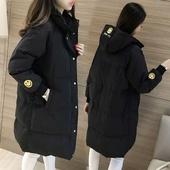 棉衣女中长款 百搭连帽外套潮p133 新款 加厚保暖面包服韩版