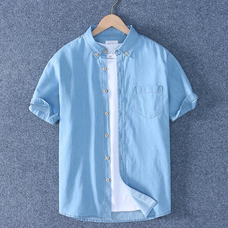 Sabaqi summer new fashion mens Cotton Denim Short Sleeve Shirt half sleeve denim shirt casual thin denim top
