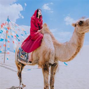 民族风复古显瘦连帽连衣裙春夏红色旅拍沙漠长裙泰国旅游度假裙子