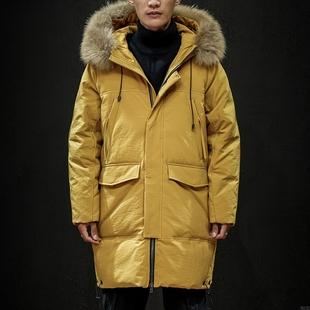 男装白鸭绒外套防寒保暖大毛领中长款过膝厚抢购潮流羽绒服装韩版