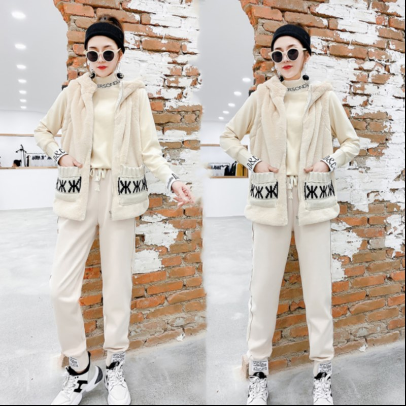 Europe station autumn and winter 2021 new Hooded Vest high collar bottomcoat fashion casual pants Korean lettered womens wear
