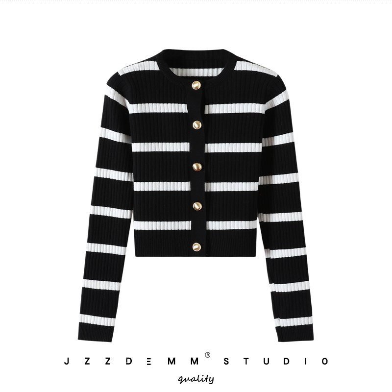 Retro Black and white striped color matching cardigan autumn and winter new fashion temperament metal button Short Jacket Women